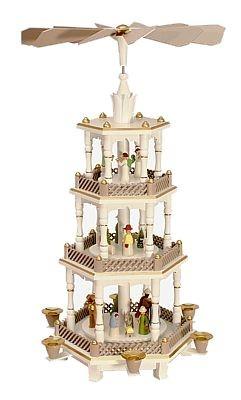 Weihnachtspyramide Christi Geburt mit Engel, pastell - wei�