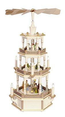 WeihnachtsPyramide Geburt und Engel, pastell - weiß