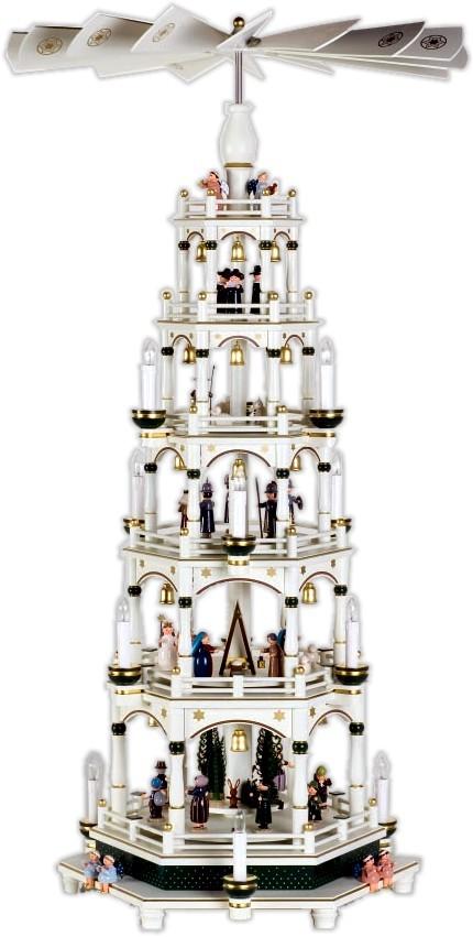 elektr. f�nfst�ckige Weihnachtspyramide, wei� mit gr�n