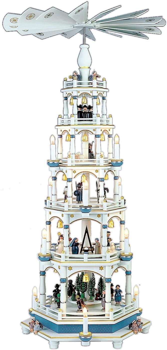 fünfstöckige Weihnachtspyramide in weiß mit blau