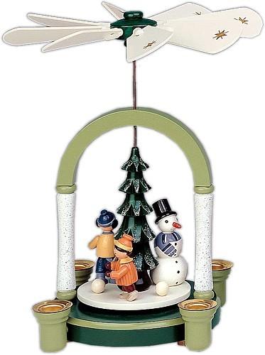 Weihnachtspyramide Schneemann in grün/weiß