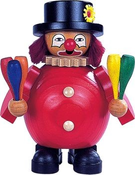 R�uchermann kleiner Clown jongliert mit Keulen,