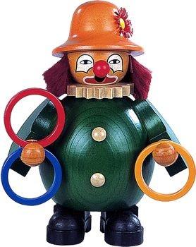 Räuchermann kleiner Clown jongliert mit Ringen,