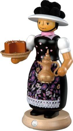 Räuchermann Schwarzwaldfrau mit rauchender Kanne, groß