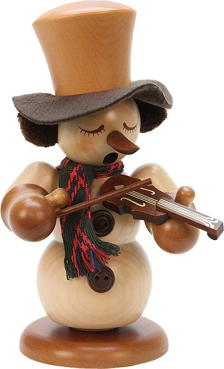 Räuchermann Schneemann mit Geige natur