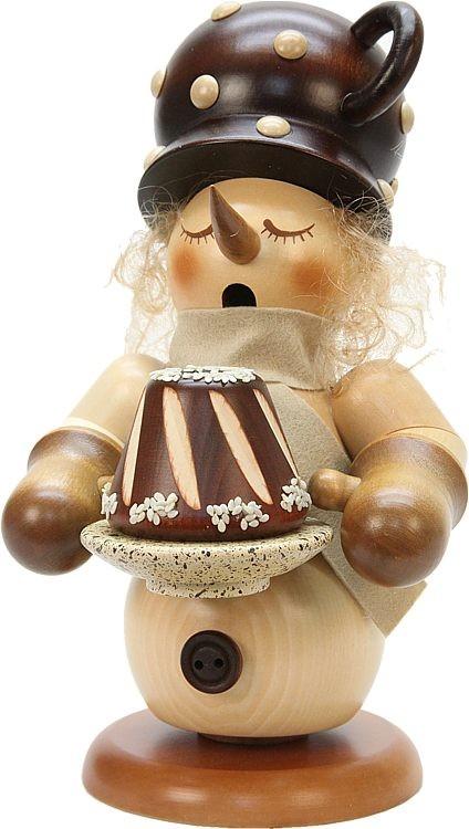 Räuchermann Schneemann mit Nussknacker-Kuchen natur