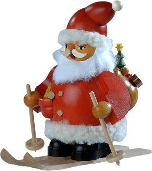 Räuchermann Weihnachtsmann auf Skier, klein