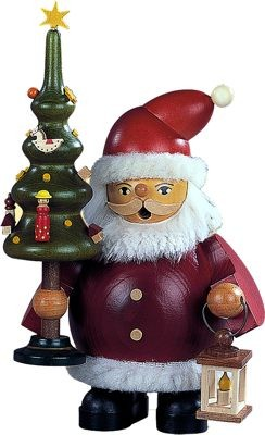 Räuchermann Weihnachtsmann mit Baum, klein