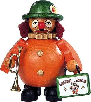 Räuchermann kleiner Clown mit Trompete und Koffer,