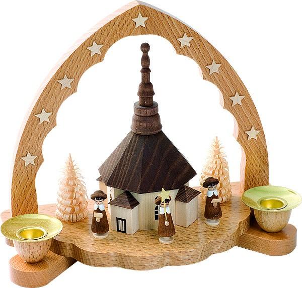 Kerzenhalter Seiffener Kirche mit Kurrende
