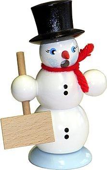 R�ucher-Schneemann mit Schippe