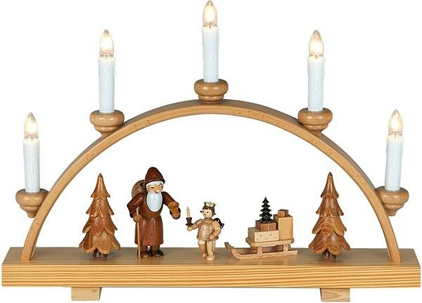 Schwibbogen Weihnachtsmann mit Engel / natur