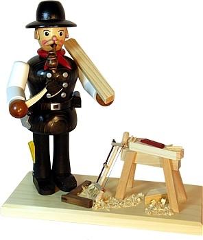 R�uchermann Zimmermann mit Hobelbock
