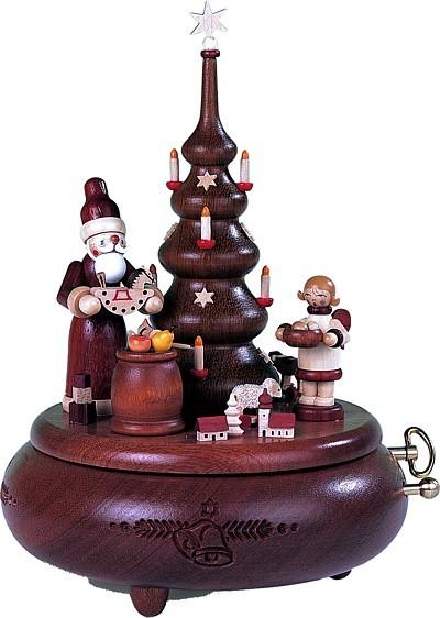 Spieldose Bescherung am Weihnachtsbaum natur