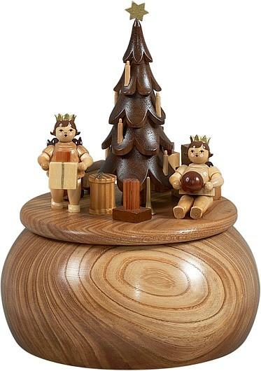 Spieldose - Engel am Weihnachtsbaum / natur