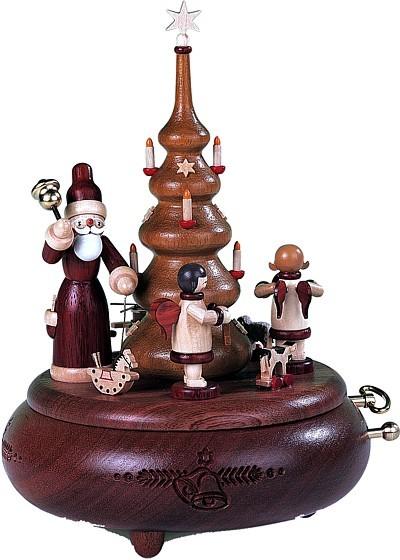 Spieldose Weihnachtsmann und Geschenkeengel natur