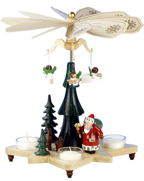 Teelichtpyramide Engel mit Weihnachtsmann