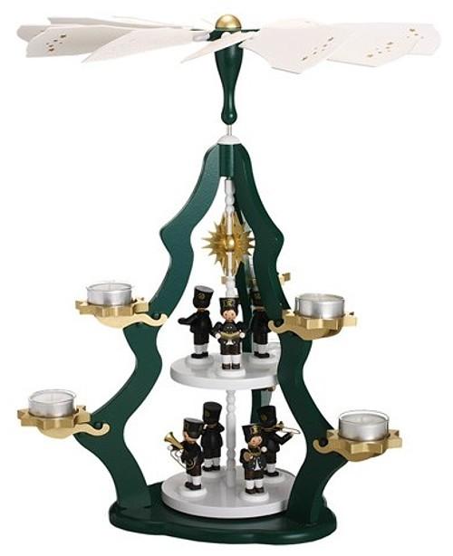 Teelichtpyramide 2-stöckig grün mit 7 Bergmännern