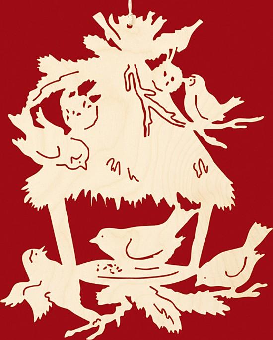 Fensterbild Weihnachten Vogelfütterung