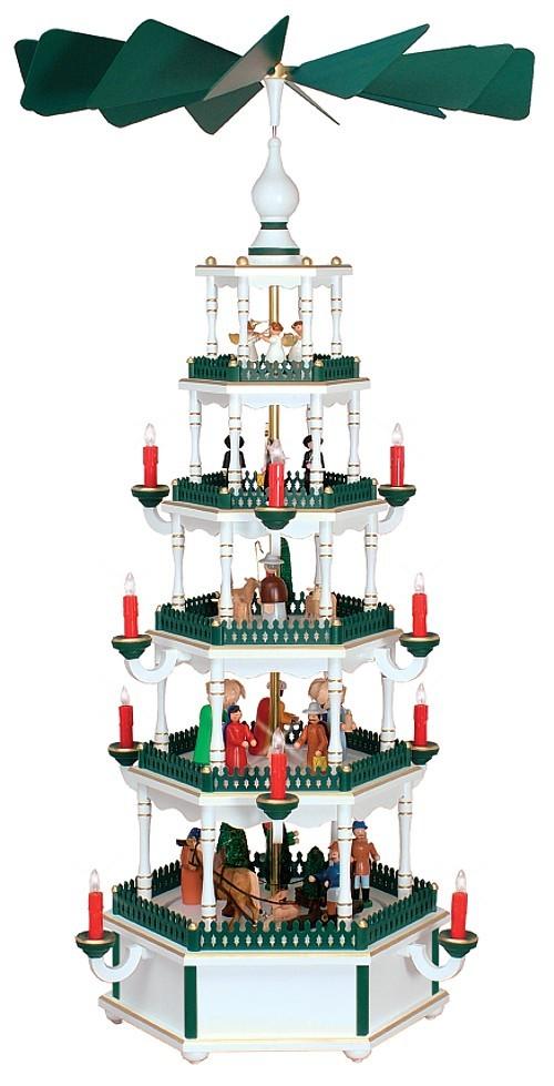 WeihnachtsPyramide weiß-grün 5stöckig elektrisch