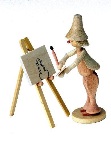 Holzfigur Maler Klecksel