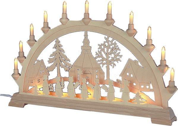 Schwibbogen Seiffener Kirche mit Kurrende