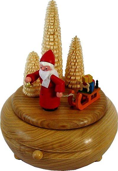 Spieldose Weihnachtsmann mit Geschenken