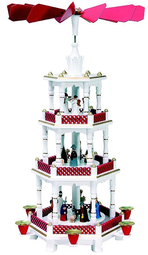 Weihnachtspyramide Geburt/Engel, Weihnachtsrot