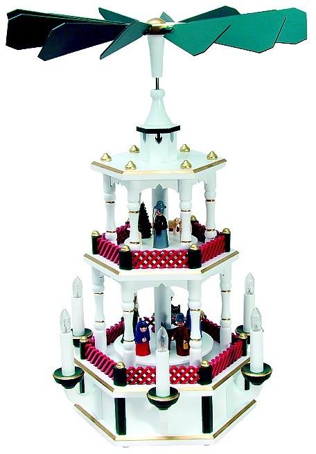 Weihnachtspyramide Geburt, gr�n/rot, Sonderanfertigung