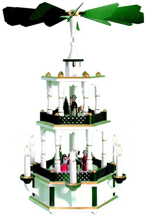 Weihnachtspyramide Geburt, gr�n/wei�