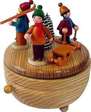 Spieldose Winterkinder mit Schlitten