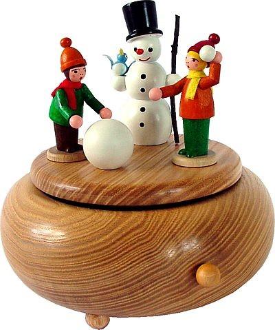 Spieldose Winterkinder mit Schneemann