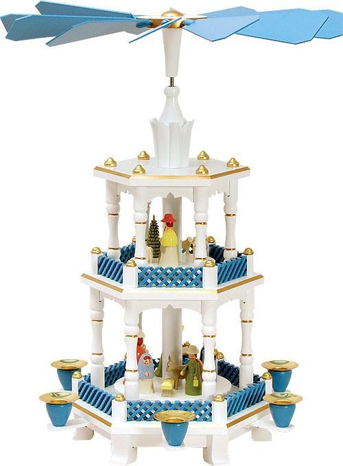 Weihnachtspyramide Geburt pastell-blau-wei� 2st�ckig