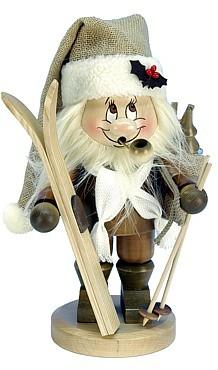 Räuchermännchen Wichtel Weihnachtsmann mit Ski
