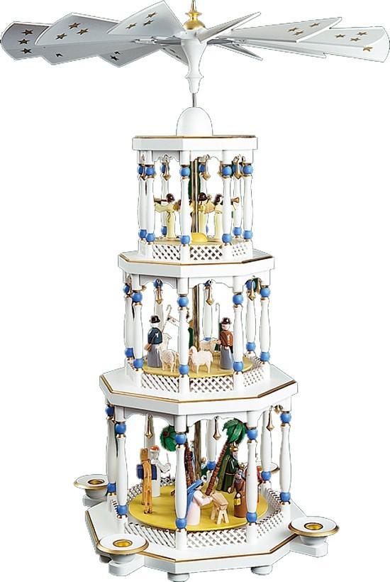 Weihnachtspyramide Christi Geburt 3stöckig weiß