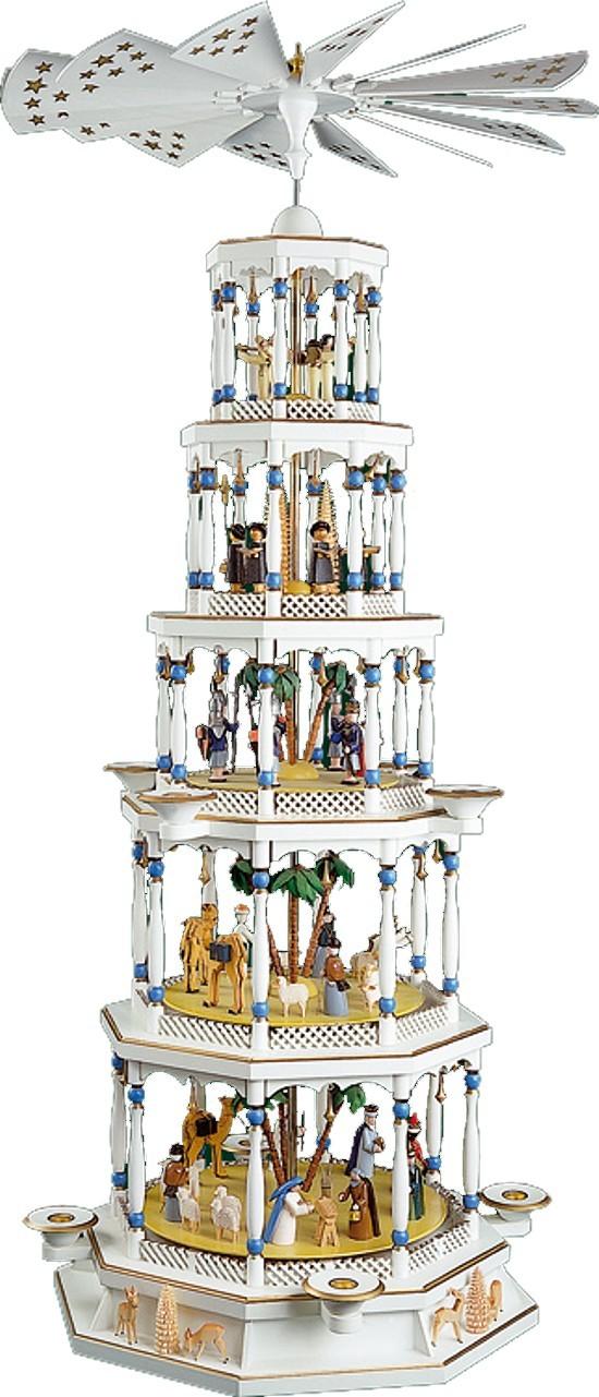Weihnachtspyramide Christi Geburt 5stöckig mit Spielwerk weiß