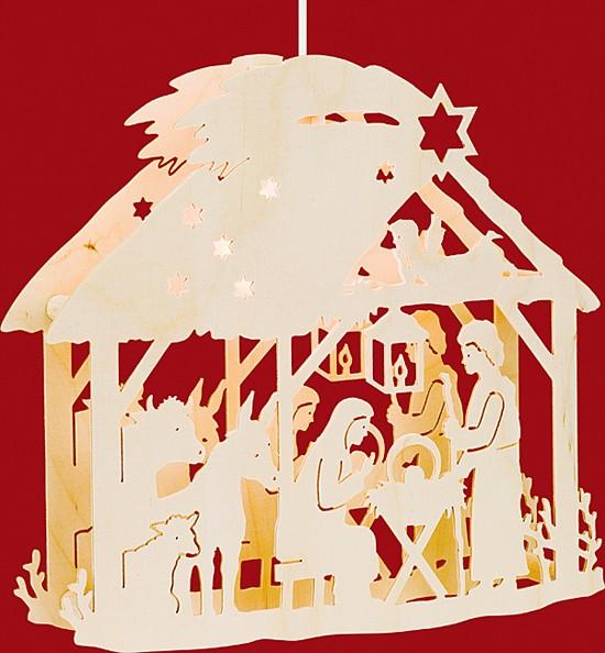 Beleuchtetes Fensterbild Christgeburt im Haus