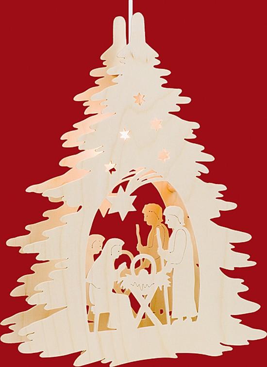 Beleuchtetes Fensterbild Christgeburt unterm Baum
