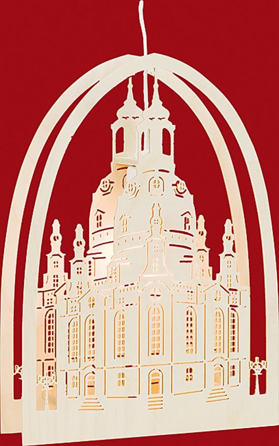 Beleuchtetes Fensterbild Frauenkirche