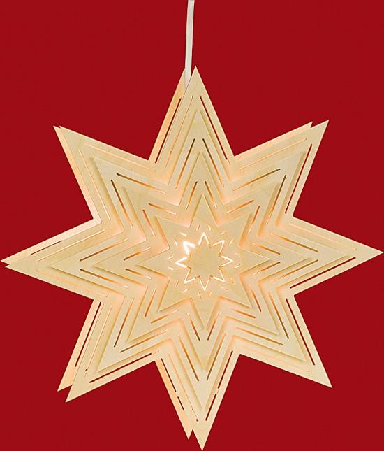 Beleuchtetes Fensterbild Stern mit Lichtschlitze