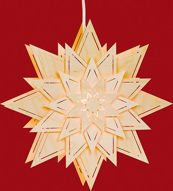 Beleuchtetes Fensterbild Stern mit Lichtschlitze (Blume)