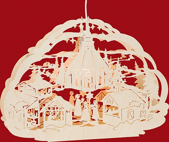 Beleuchtetes Fensterbild Seiffener Weihnachtsmarkt