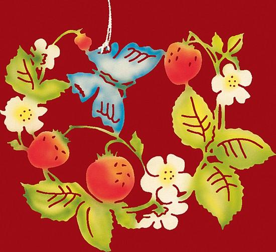 Fensterbild farbig, Schmetterling mit Erdbeeren