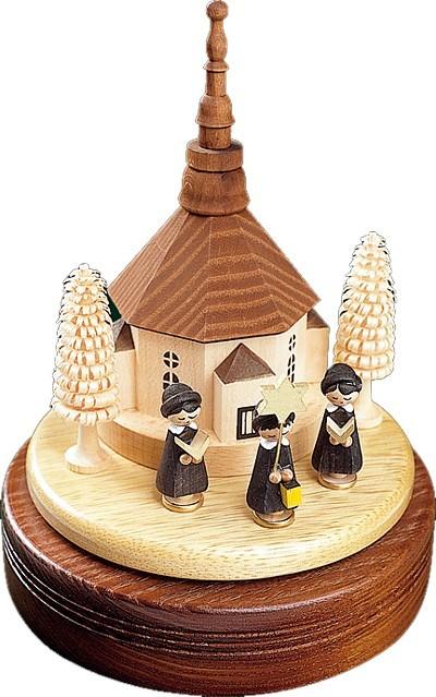 Spieldose Seiffener Kirche mit 3er Kurrende