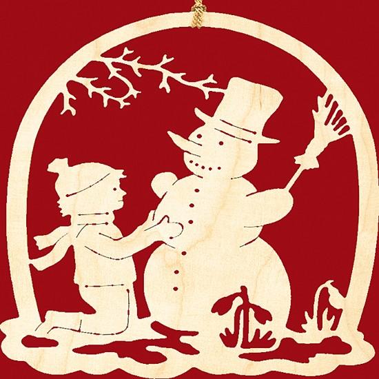 Fensterbild Weihnachten Junge mit Schneemann