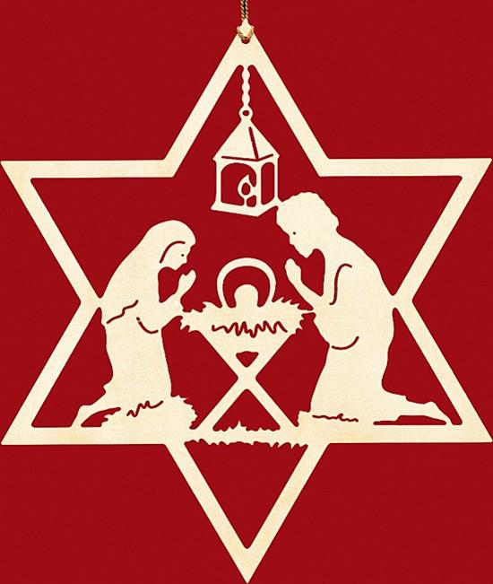 Fensterbild Weihnachten Christgeburt im Stern