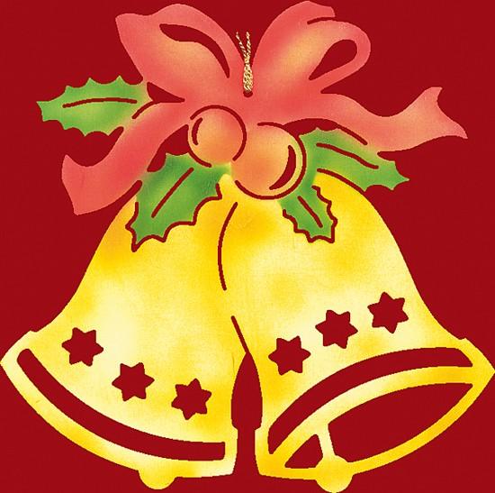 Fensterbild / Wandbild,  Weihnachten farbig, Glocke mit Schleife - klein