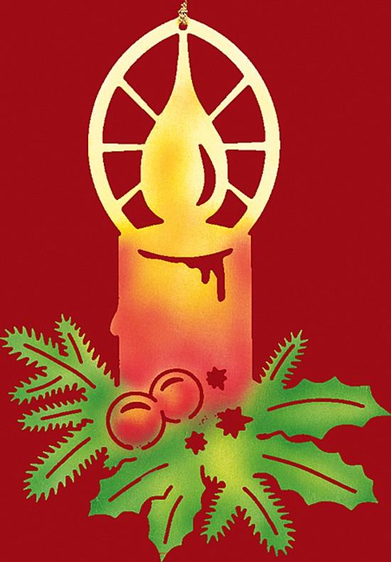 Fensterbild Weihnachten farbig, Kerze mit Zweigen - klein