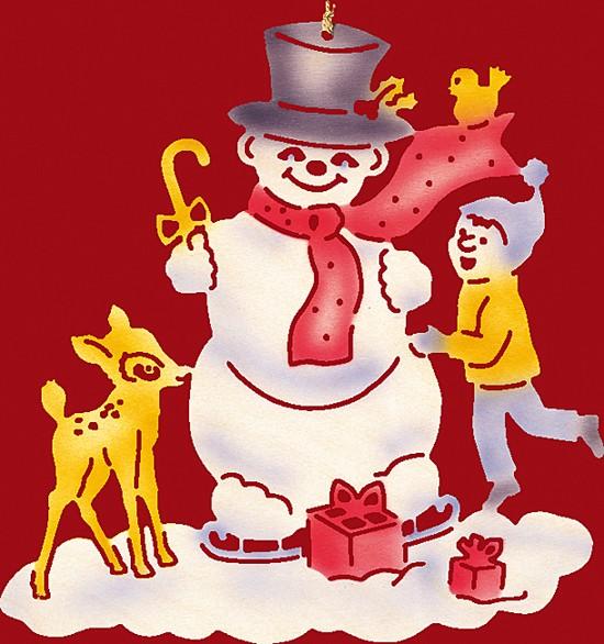 Fensterbild Weihnachten farbig, Schneemann mit Kind und Rehkitz - klein