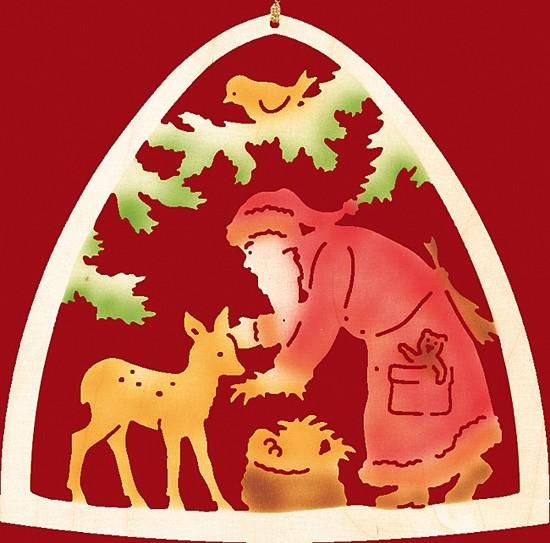 Fensterbild farbig Weihnachten, Weihnachtsmann mit Reh
